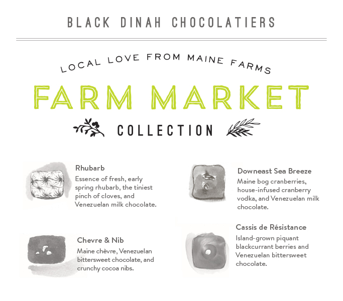 The Farm Market Collection is a special box of truffles using fresh ingredients from local farms. We wanted to set it apart from the regular collection, so we employed a secondary branding with its own identity. Like the regular truffle collections, these truffles are depicted with ink drawings to emphasize the hand-made quality of their product. The Cassis de Résistance won Best Confection at the Good Food Awards in San Francisco in January of 2015.