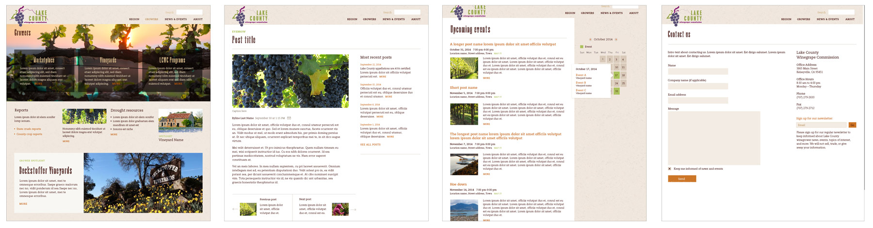 A selection of web pages with visual design applied