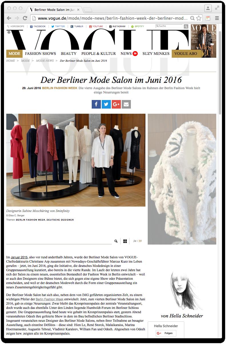 Vogue Der Berliner Mode Salon im Juni 2016. Designerin Sabine Moschüring von Sminfinity. Berlin Fashion Week. Deutsche Designer