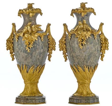 "Exquisite signed ""Sanglan""19th Century Pair Napoleon III Gilt Bronze Mounted Marble Urns, presented by Artebella at Laguna Design Center."