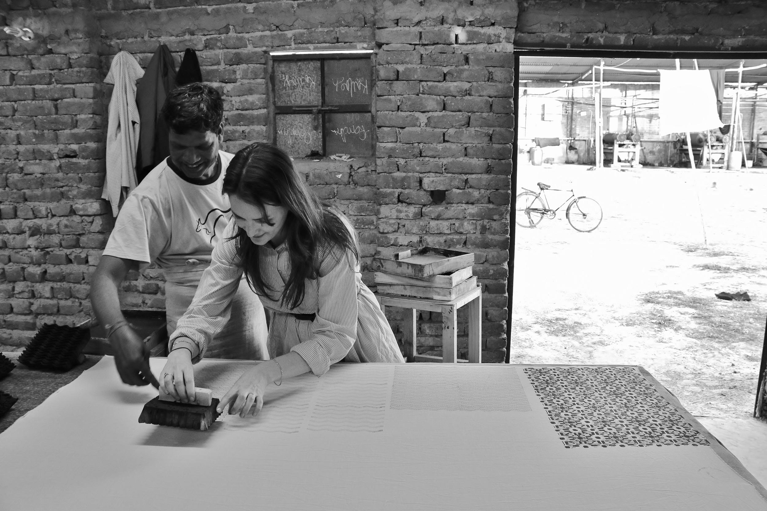 Trying my hand at block printing at Mehera Shaw in Jaipur