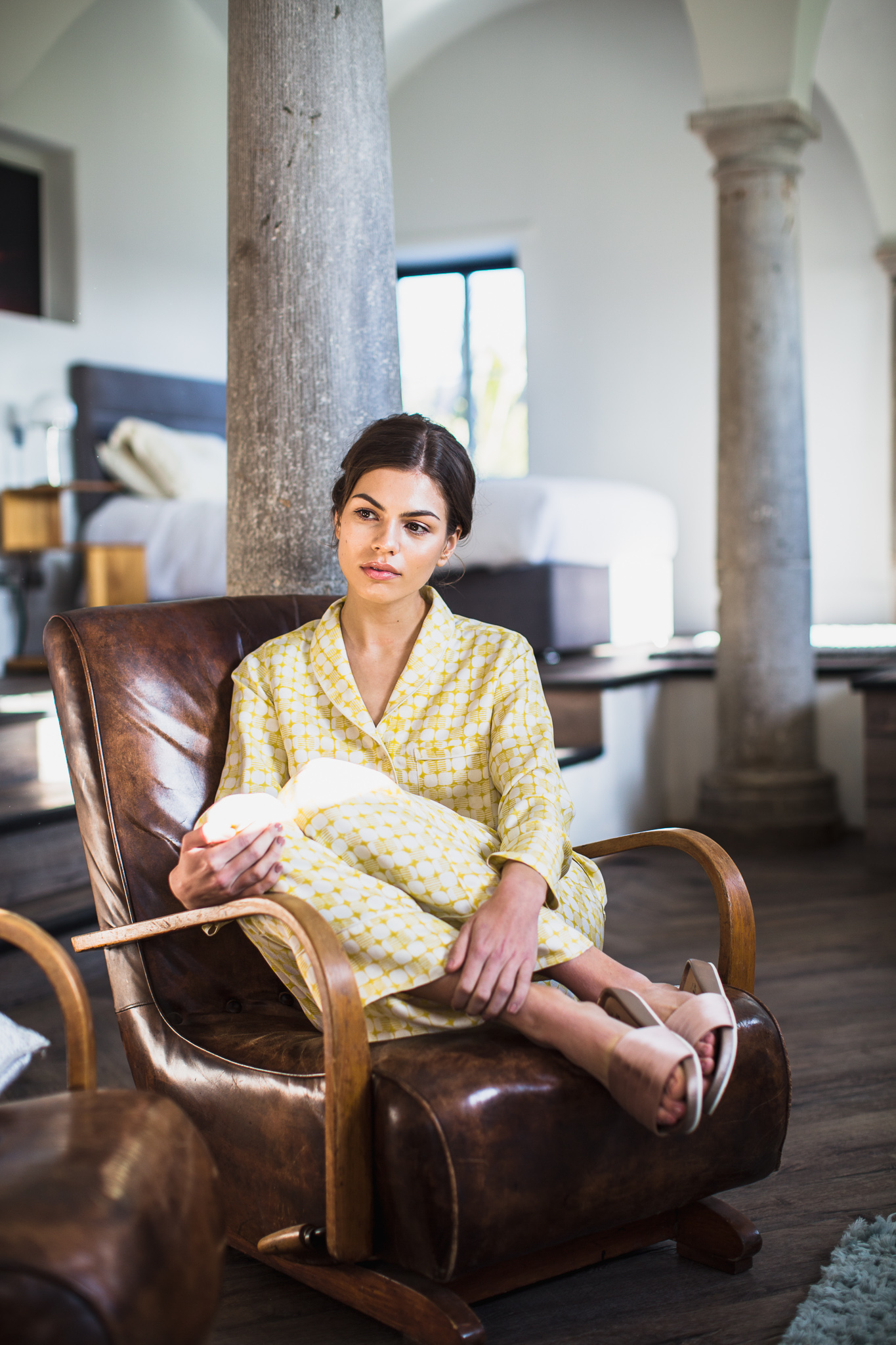 Gold print silk pajamas.jpg