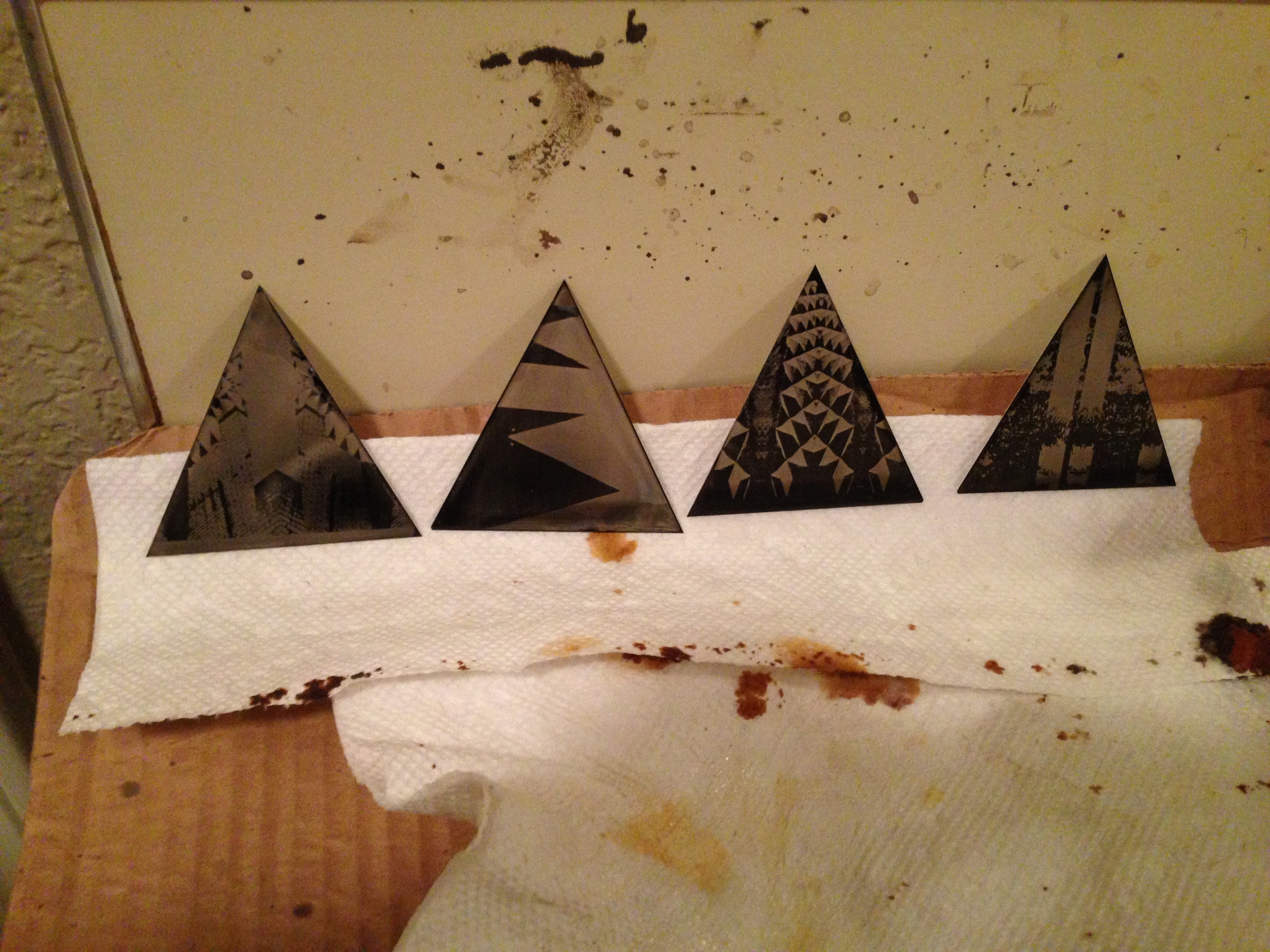 "2.5"" isosceles triangle ferrotypes drying after final wash"