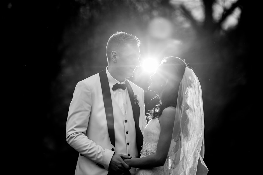The classic elegance of the bride and groom in black and white. East Riddlesden Hall, Keighley, West Yorkshire.