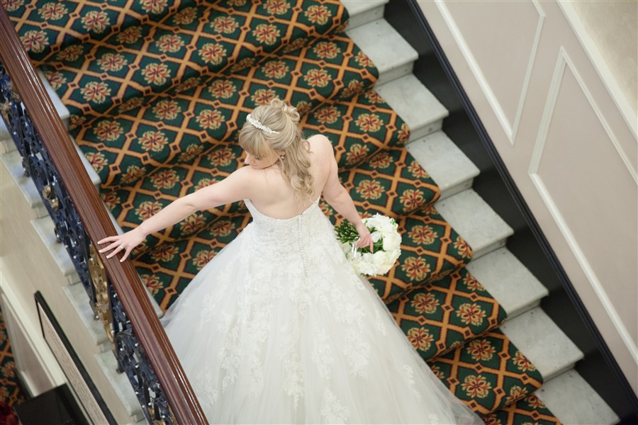 Bride, Stacey, making the most of a beautiful venue. Midland Hotel, Bradford, West Yorkshire.
