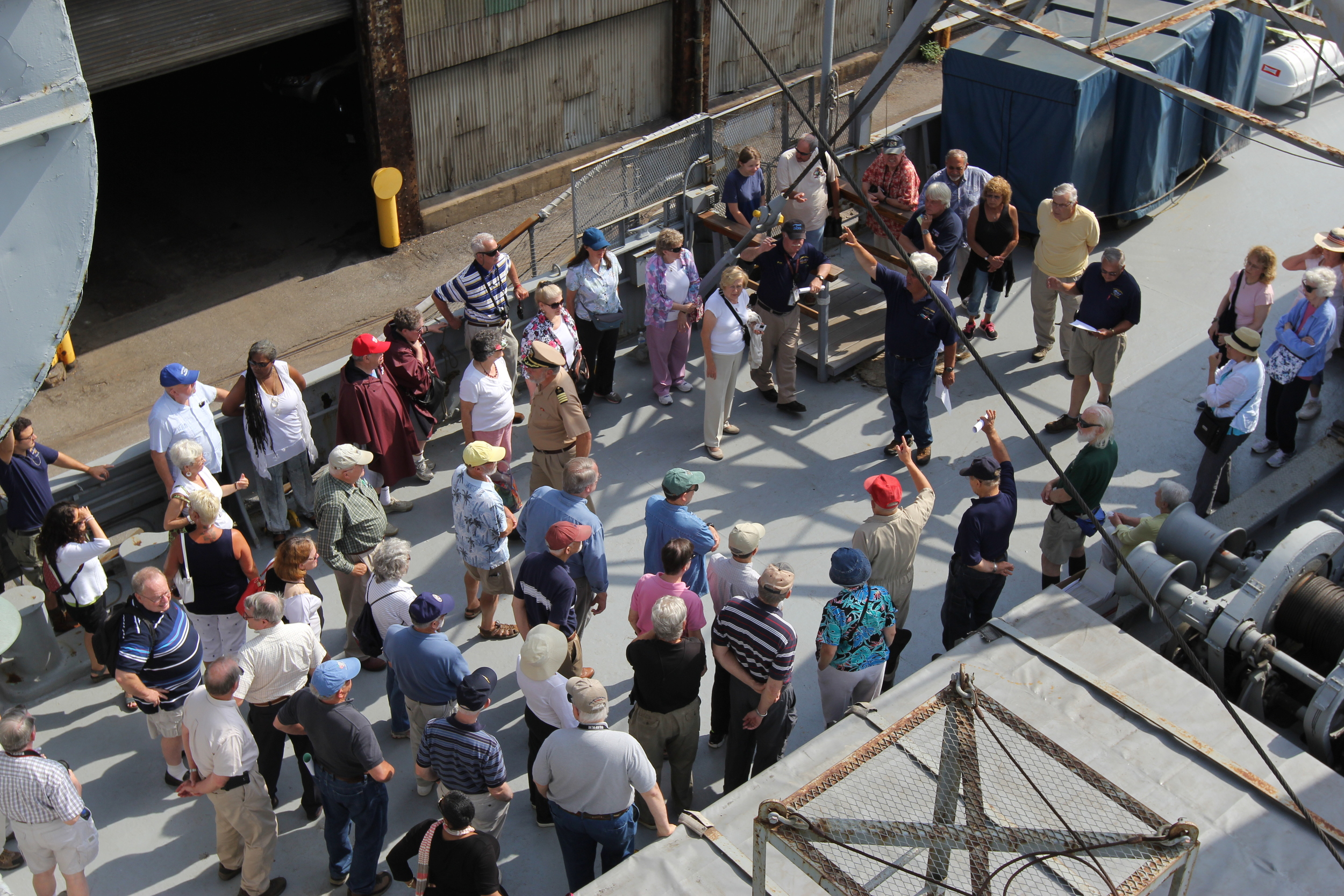 Smithsonian tour group....  Smithsonian Associates   They toured the BROWN and some other great ships in Baltimore.  First stop...1940's....this old Liberty Ship.