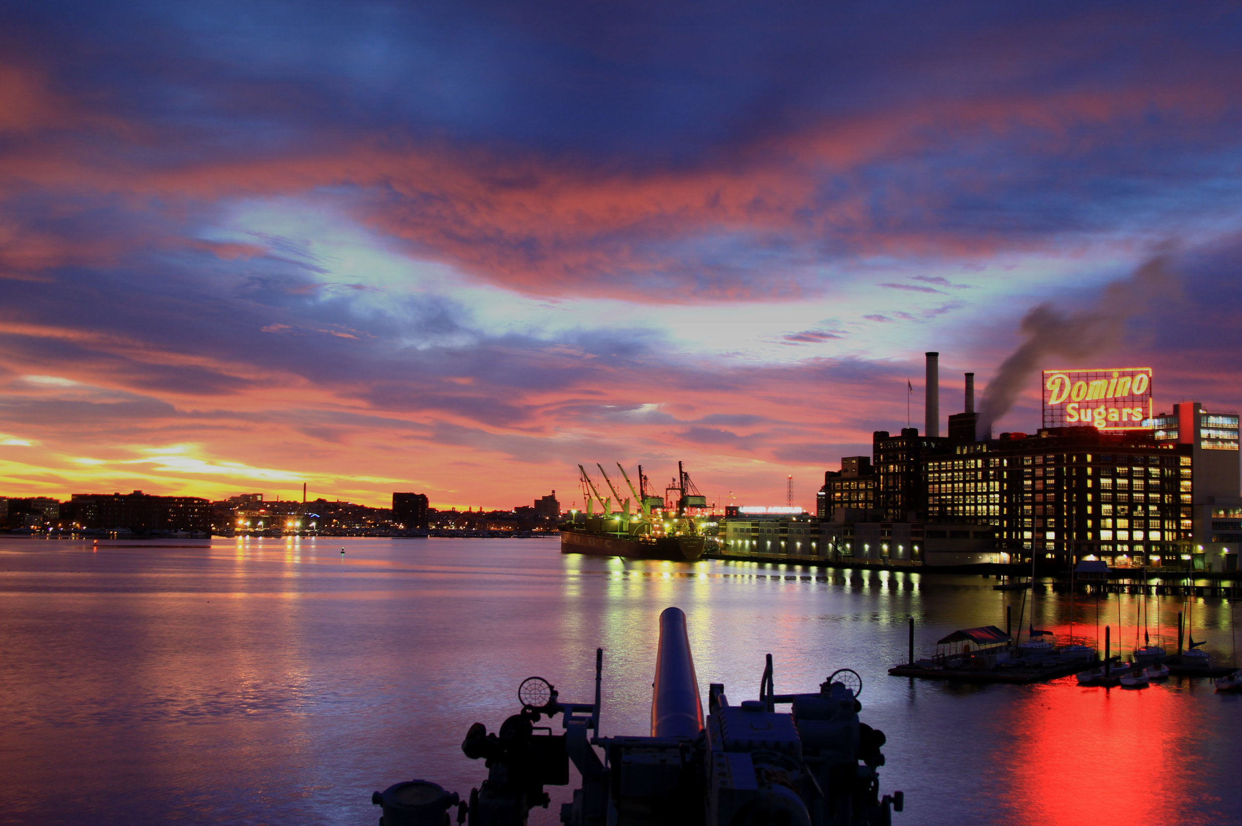 The morning of 9/27/13. We were chartered for  Baltimore'sTrawler Fest  and the ship was used for different sessions of theTrawler Fest University. Crew members sleptaboard this week and most stayed in bed and missed this light show in the sky, buta few did witness this.
