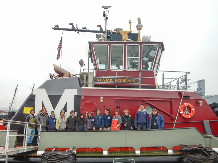 Students were able to visit the MARK MORAN, one of several tugs just up the street from the BROWN.