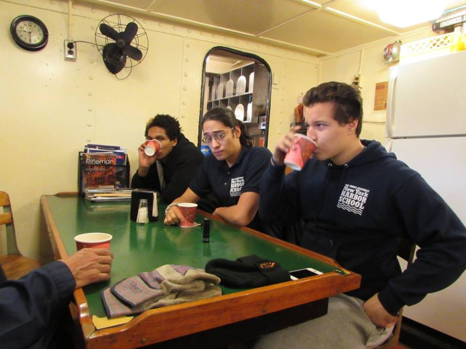 Coffee Break! Students join the crew on the mess deck for coffee (and hot chocolate).