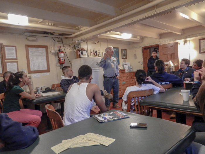 Morning muster: Bill is the BROWN's Harbor School liaison. In addition to being a member of the Deck Department, he is an active member of the School Ship  Alumni Association .
