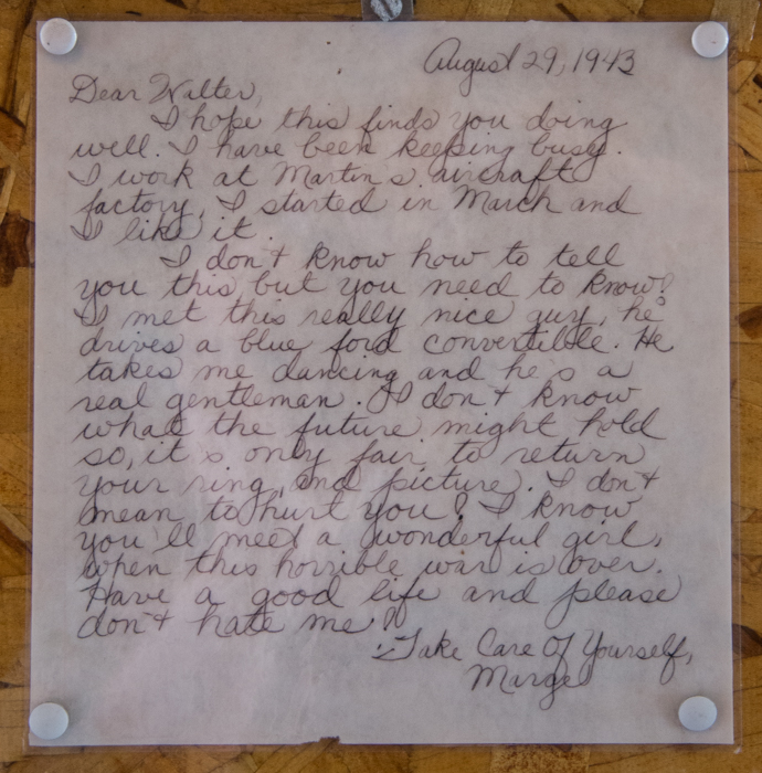 If this reaches the family of Walter or Marge, we'd LOVE to hear more of their story. Remember, we are always willing to preserve artifacts or pictures (books, flags and even Dear John letters) from this time period.