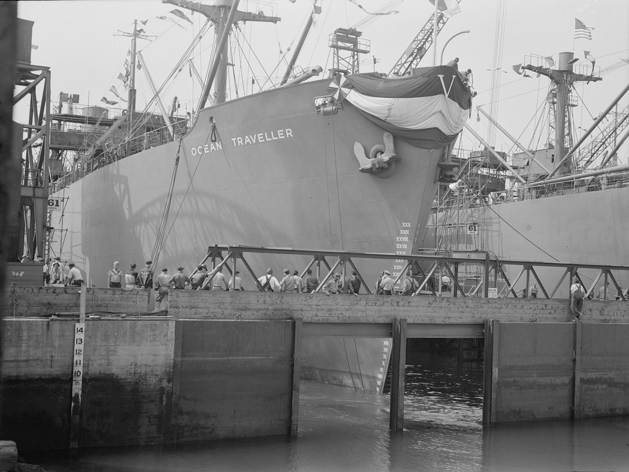 """Ocean Traveler, one of the 8 ships launched in Portland Maine on August 16, 1942... Five of which were Ocean class ships for England under the Lend-Lease program.""""Ocean Traveller LOC fsa.8b07487"""" by Photographer:Freeman, Albert - Library of Congress Farm Security Administration/Office of War Information"""
