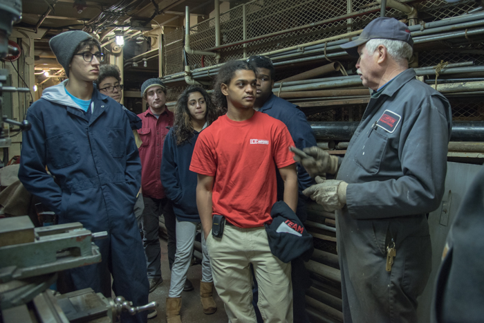 Duff shared his experience and knowledge about with some of the Harbor School students in the machine shop. It's a nice opportunity to ask questions of people who know the ropes.