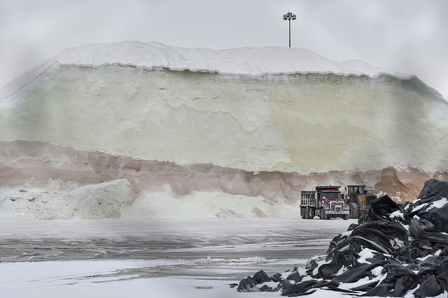It only stays piled up until a storm is coming. When the forecast goes out the salt trucks line up to be loaded up.