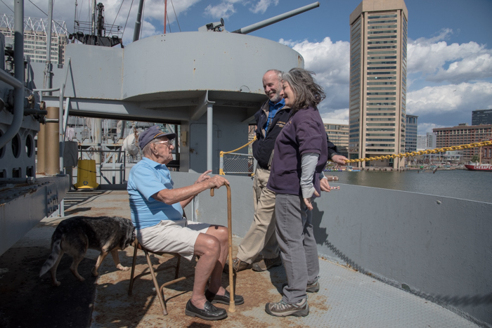 Chester sailed with us last summer. He is 100 years old and he worked at the Fairfield-Bethlehem Shipyard. His very first weld as an apprentice was on the SS JOHN W. BROWN! He made a special trip to see us when he found out we would be in the Inner Harbor. We were all happy to see him again! He will be 101 in July and plans on coming back again soon.