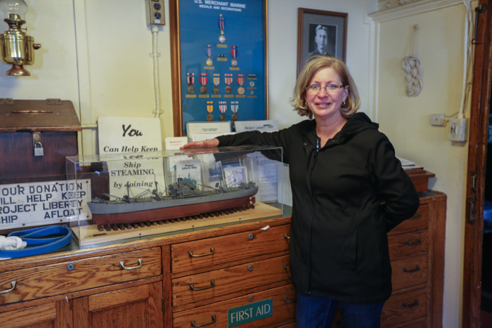 This is Shannon Ray Sewell. Her dad William Ray was an amazing modeler. Mr Ray retired from  Johns Hopkins Applied Physics Lab, but was in love with anything maritime related. Not only did Mr Ray build models, but he also built his own sailboat and sailed the east coast on it with his wife. Not long before he passed away in 2014, Mr Ray came and gave us this wonderful model of the ship, which we show off in our saloon to this day. Shannon had to come on board the BROWN to see the model and to remember her dad in a great way.