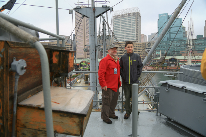 We actually had pre-arranged for a local boy scout troop to take the trip on Saturday afternoon as we moved the ship from the inner harbor back over to Clinton Street in Canton.