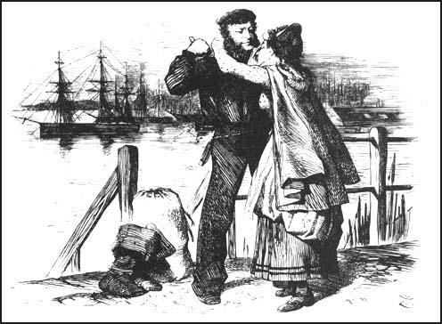 """Polly: """"O, Dear Jack! I can't help crying, but I'm so happy to think you're not going in one of those dreadful ships!"""" Jack: """"No, No, lass - never more - thanks to our friend Master Plimsoll, God bless him.""""   John Tenniel  , The Coffin-Ships,   Punch Magazine   (1873)"""