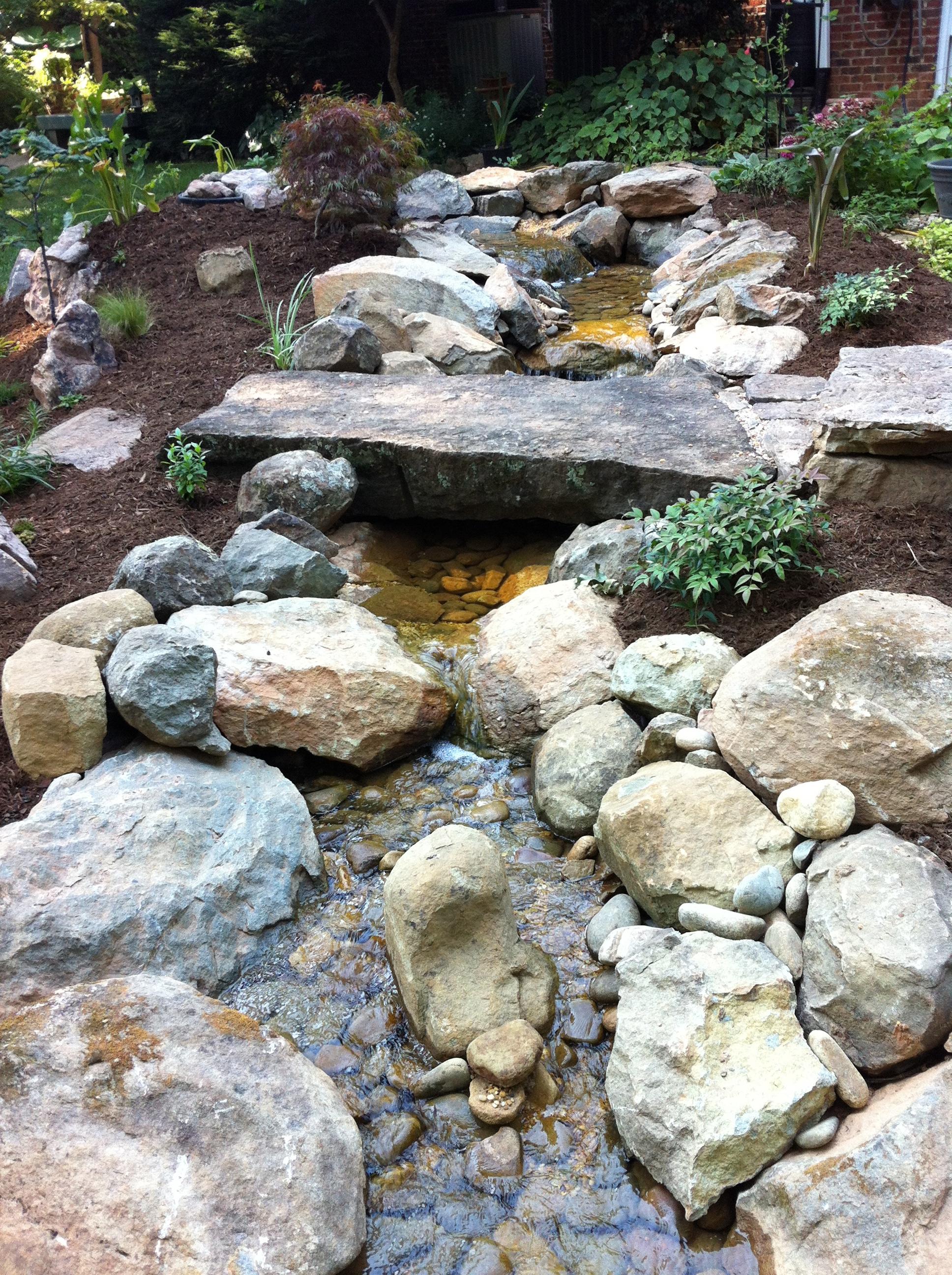 Native NC stones create a natural stream
