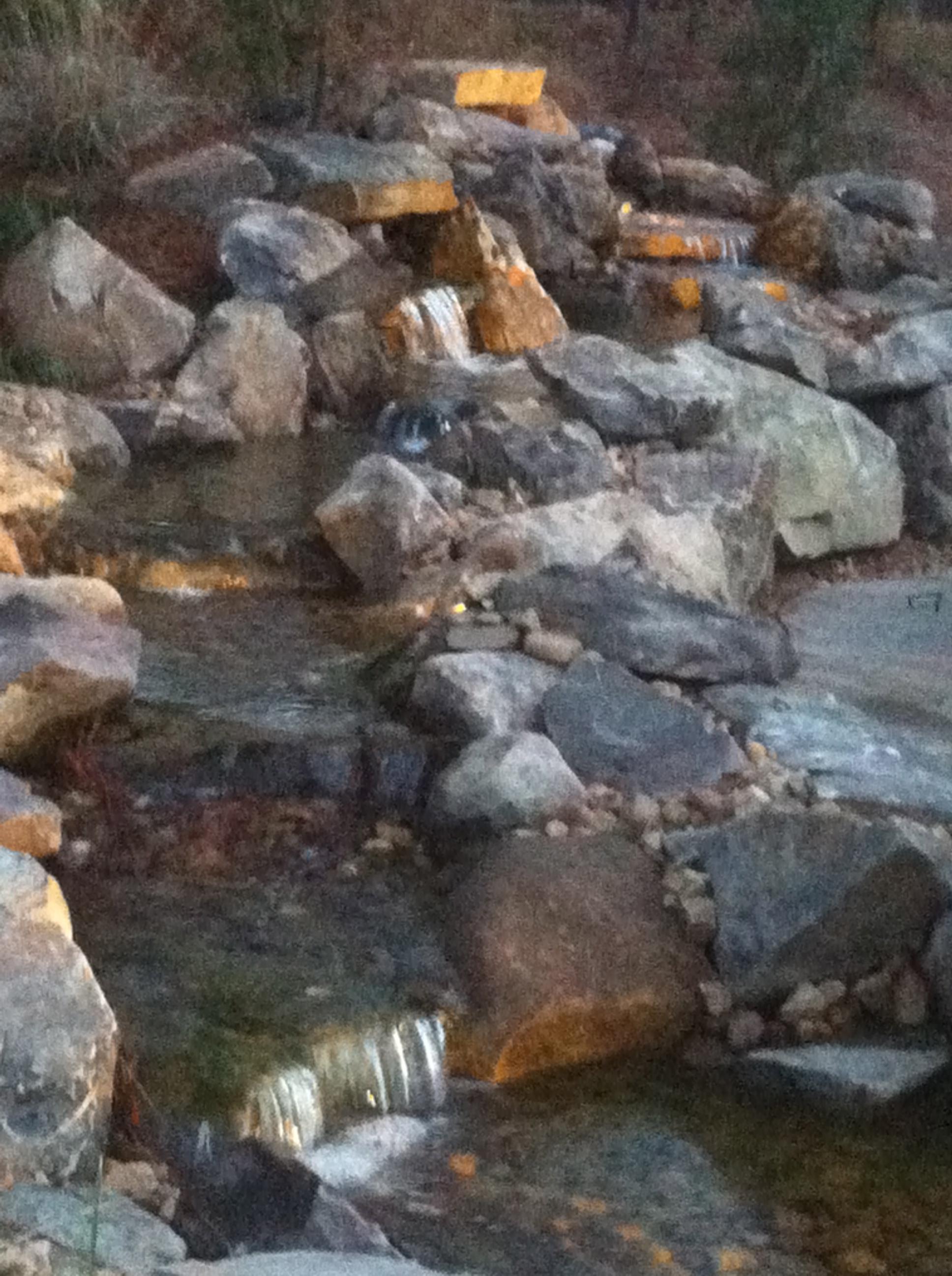 Boulder lined pondless stream