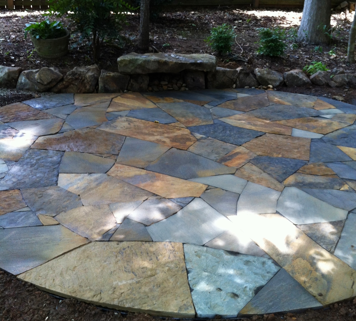 Blended flagstone patio