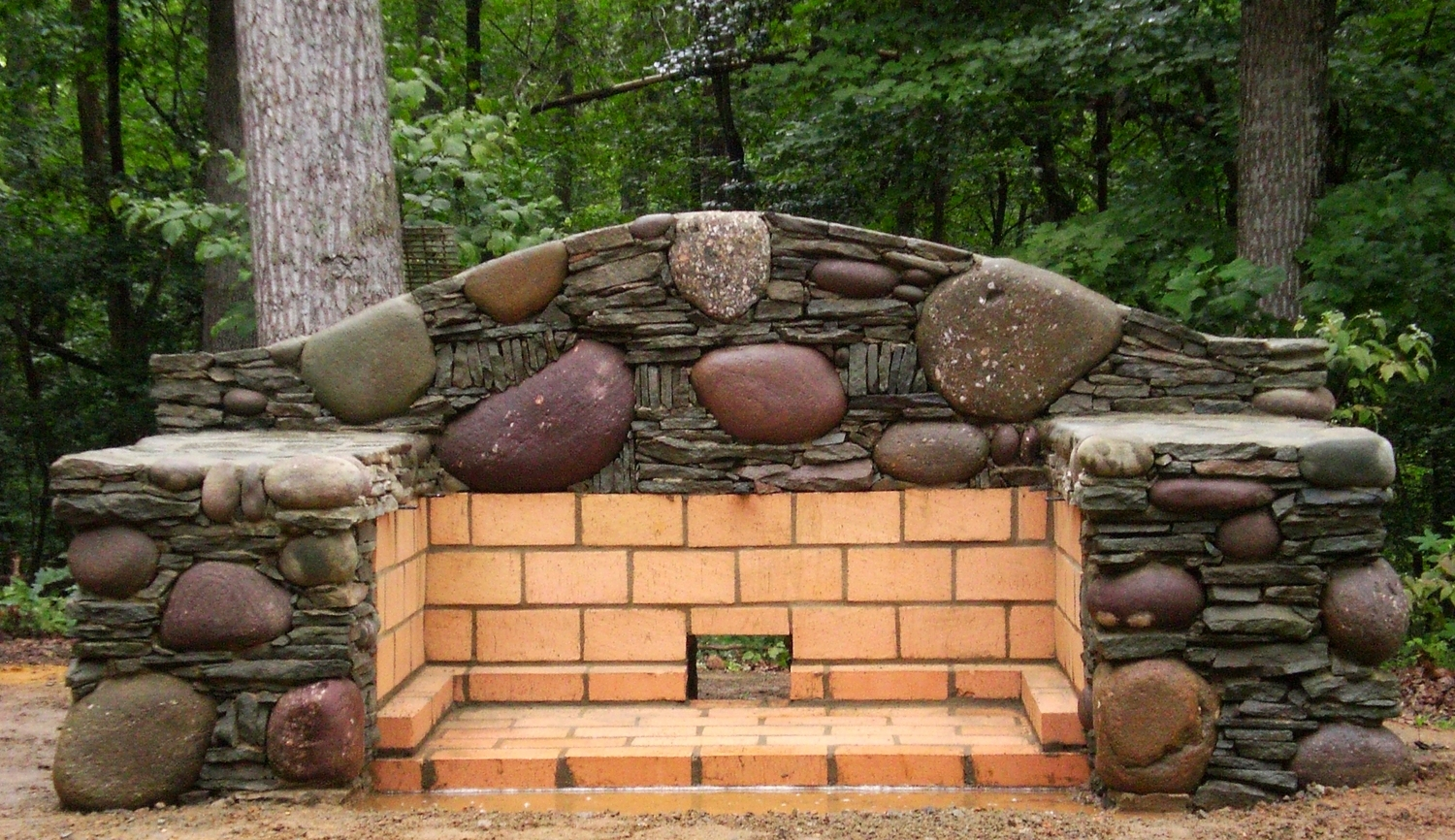 Stone grill and firepit