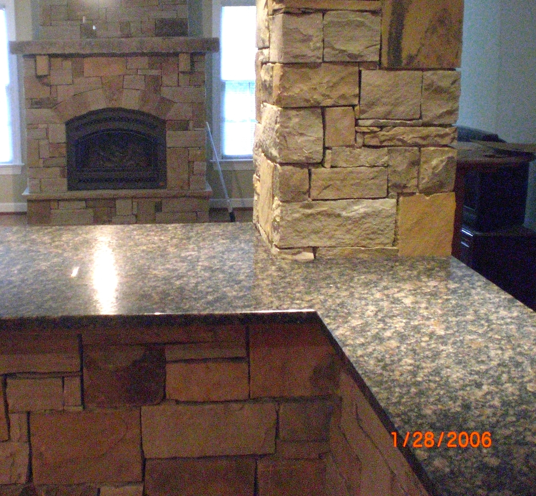 Building stone bar and fireplace