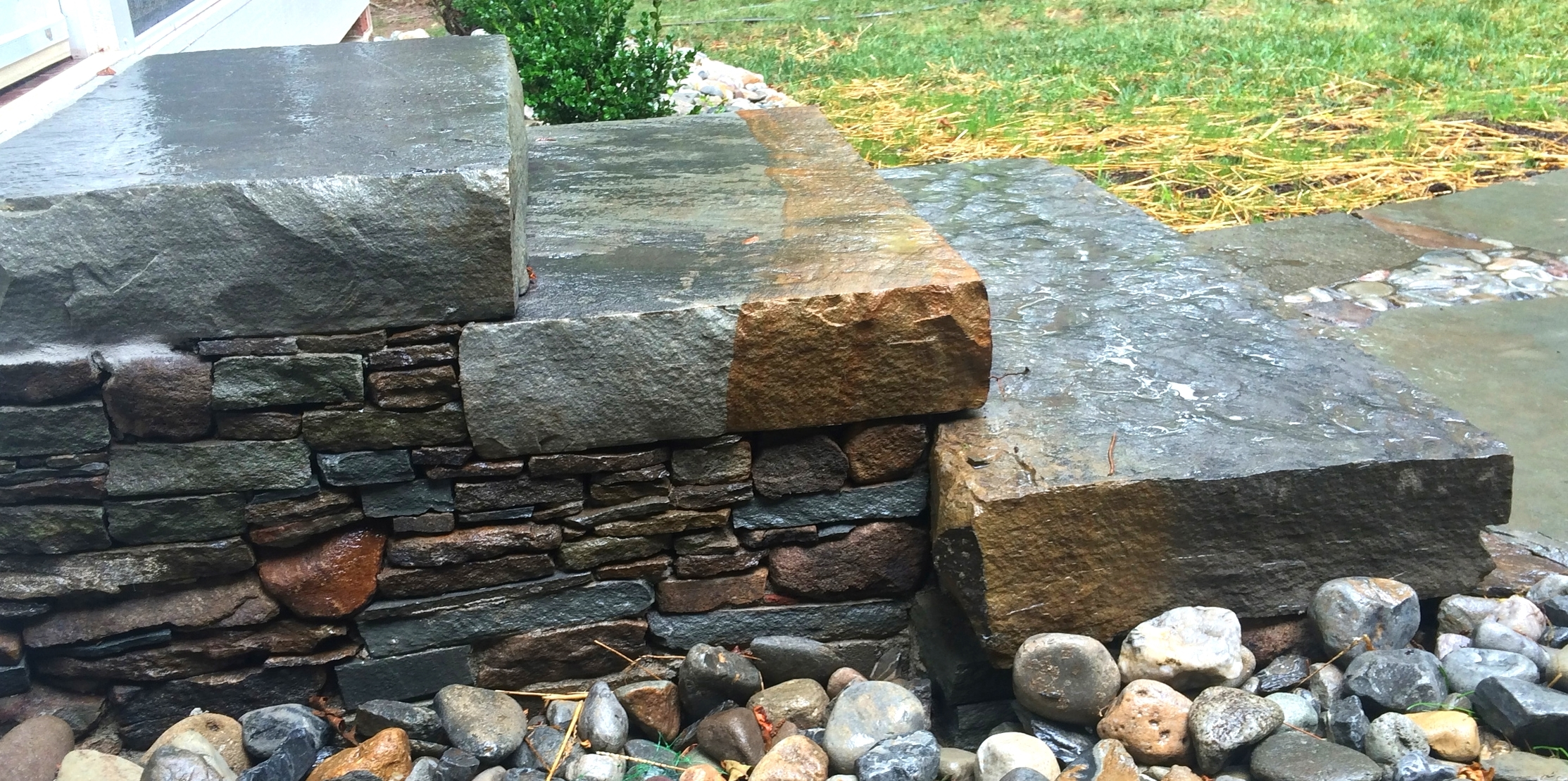 Sandstone slab treads with dry face fieldstone