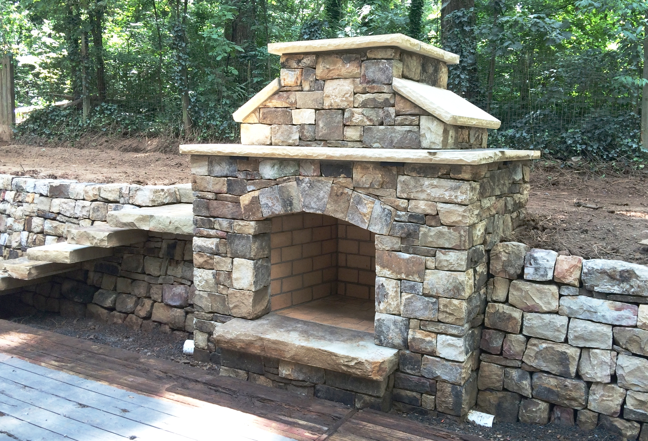 Building stone fireplace