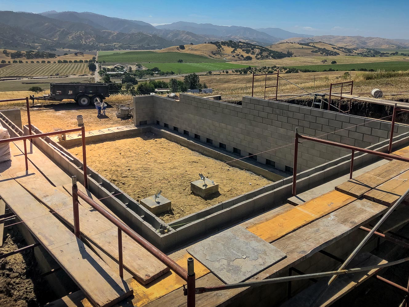 Basement blocks are installed at our new home site in Paicines, CA.