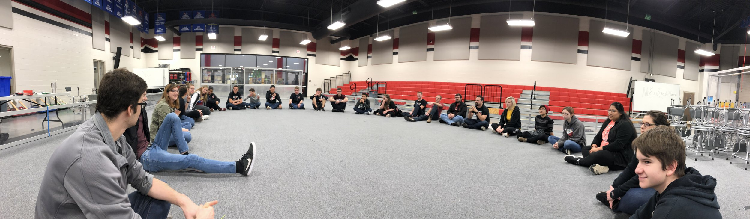 """This is called Robowrangler Huddle. We """"Huddle Up!"""" for full team discussions all the time and typically start each meeting with a Huddle. I vocally judge the team on their ability to make a """"circle"""". This one was pretty good. 9/10, would huddle again."""