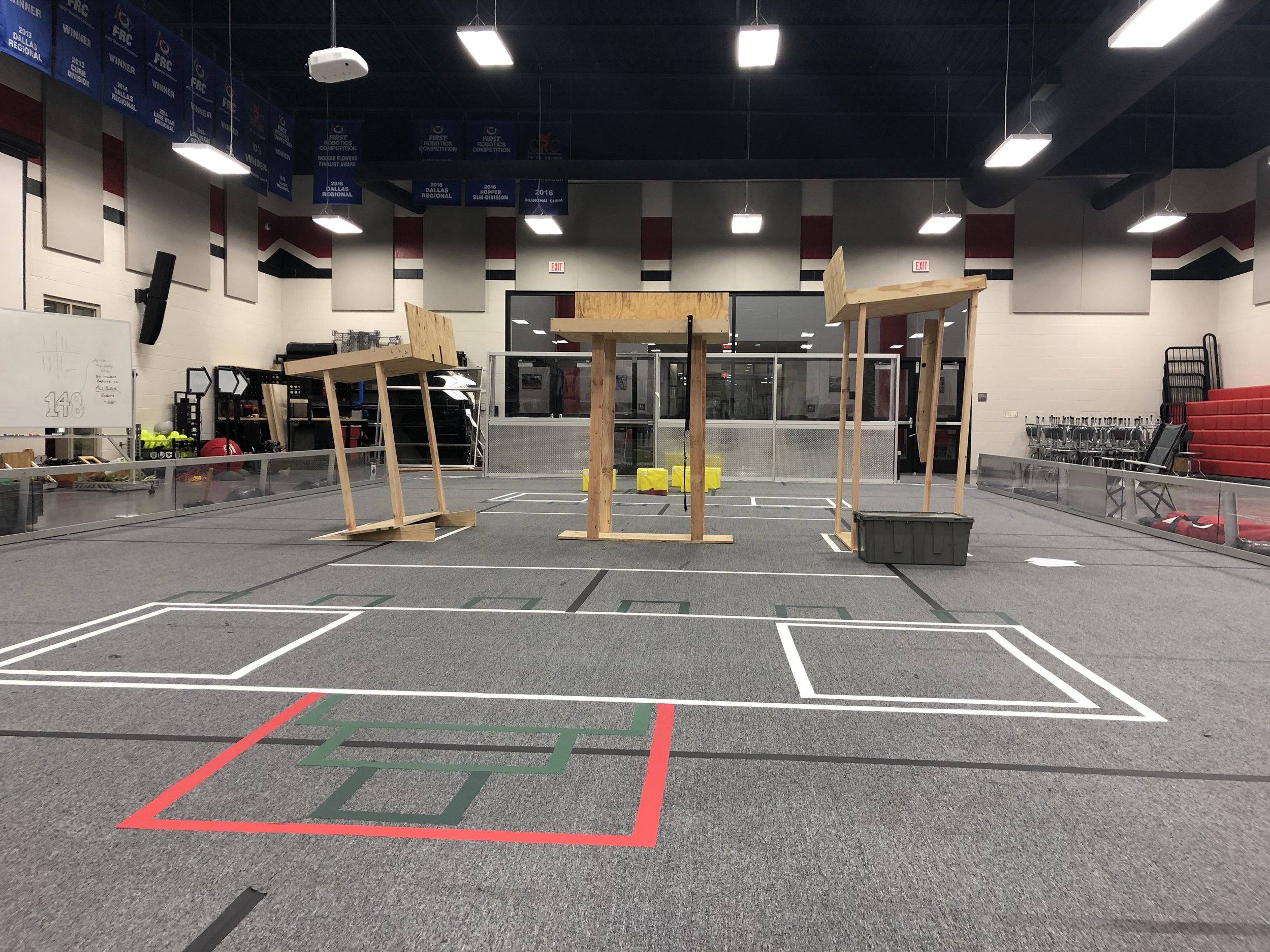 Our prototype field setup until the Robowrangler arena gets its final elements.