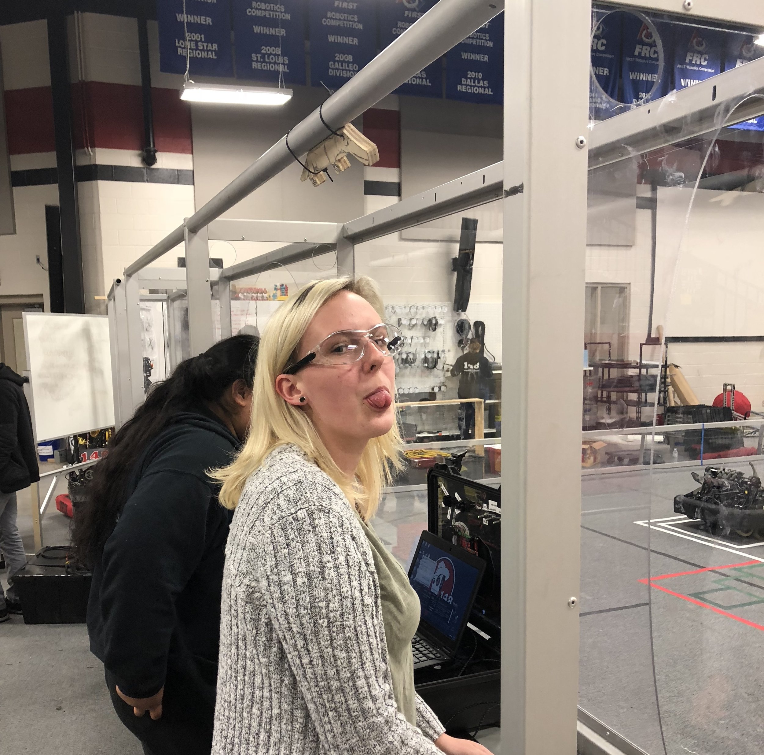I think Katie was in a good mood to be back driving a robot which could actually pickup game pieces.