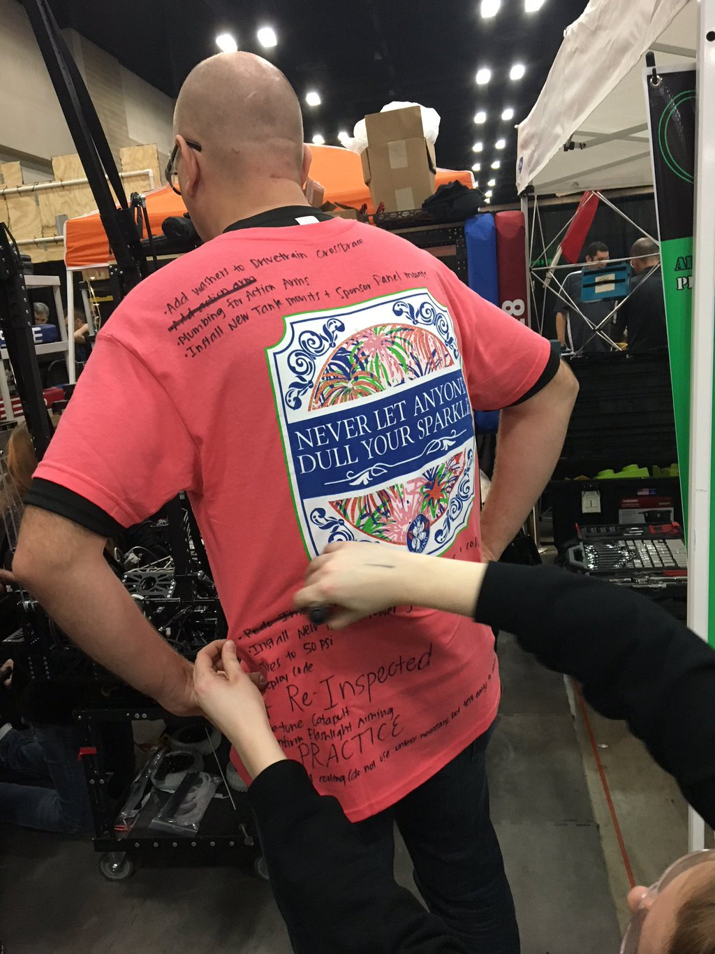 """This was the shirt from Alamo 2016... if anyone from that pit crew is reading this: """" No one will EVER dull my sparkle. """""""
