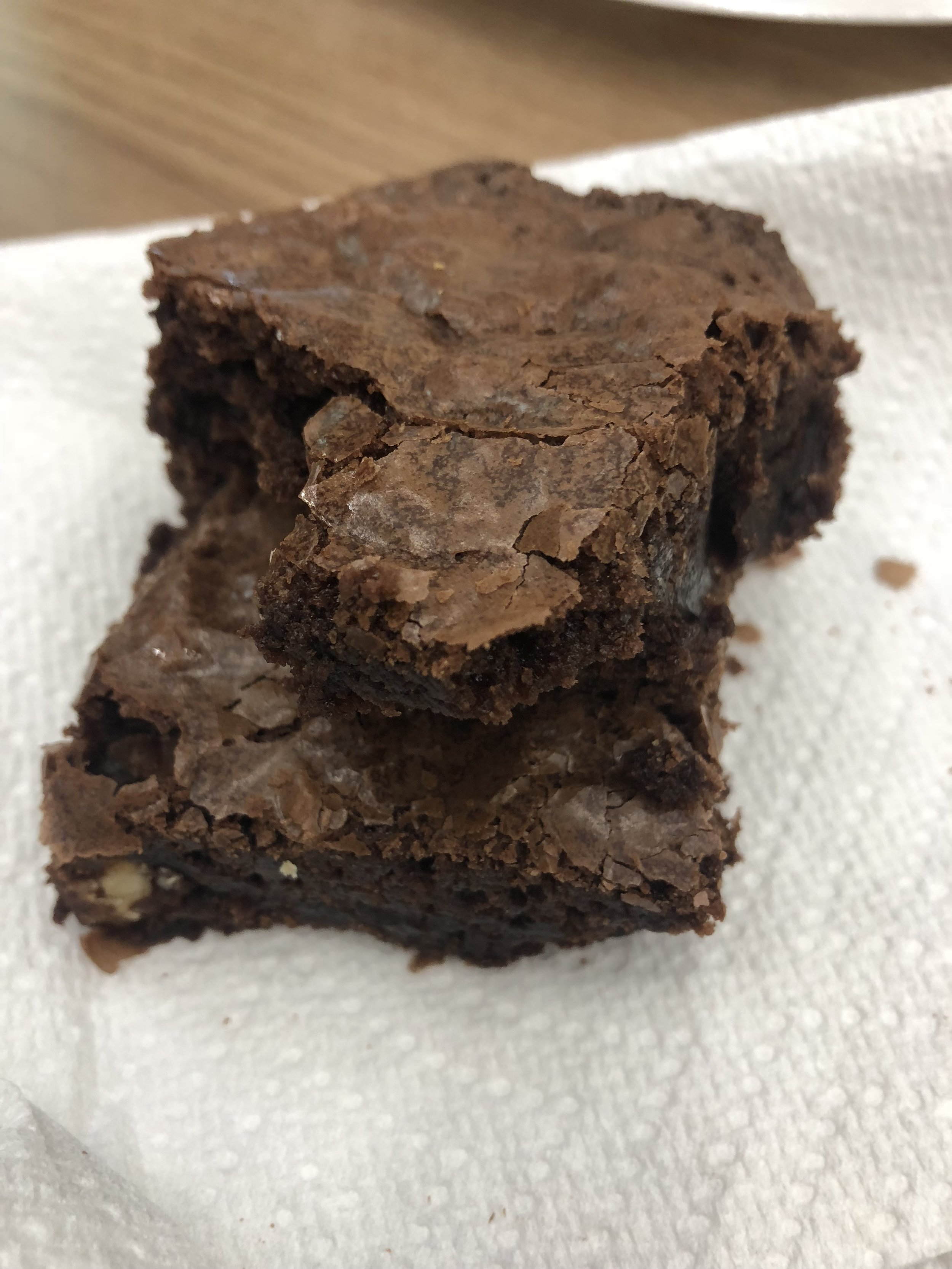 """7179 came to practice again, and brought us a tray of """"special brownies"""" which in this case means with Raisins + Walnuts!"""