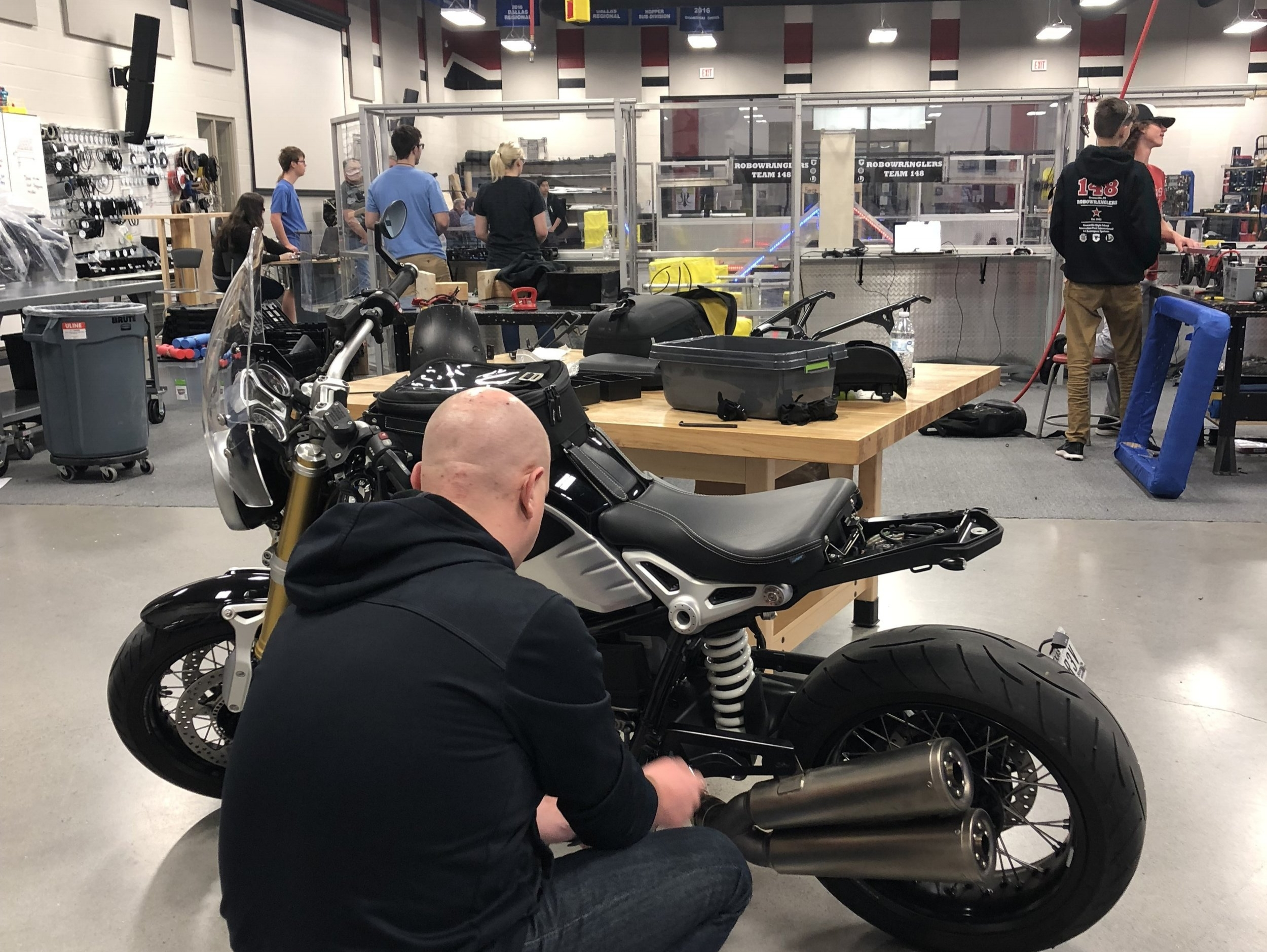 This is me, working on my motorcycle (BMW R nineT) while the drivers run drills against 3310.  I checked in on them every now and then.  #MentorBuilt