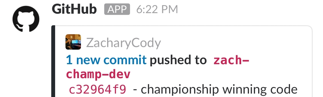 It was kinda cool to see this notification from GitHub come across Slack.