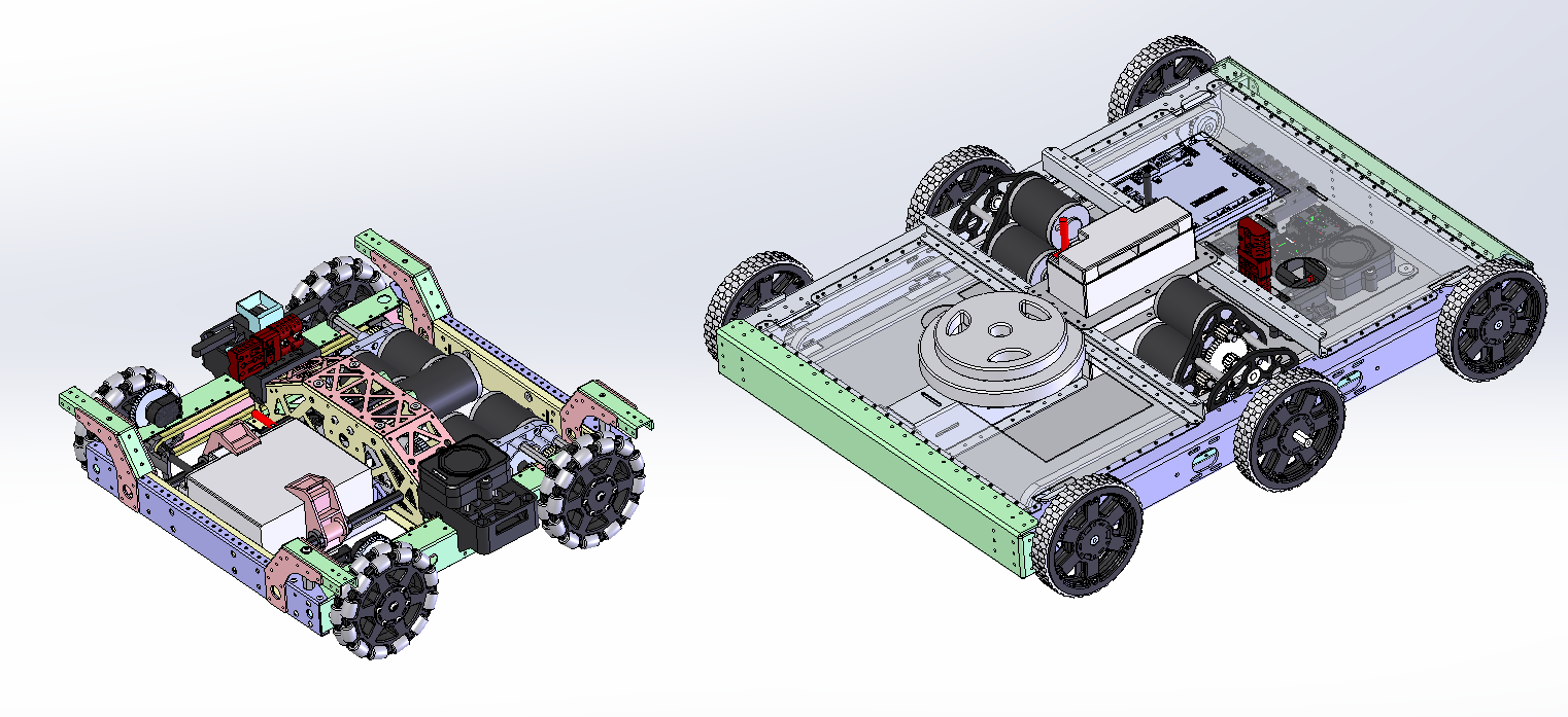 "Fun fact, we also made X019 an ""FRC full size"" big-brother!  X018 is a TANK. It was designed to be a ""mule"" and replace the aging/decommissioned X009 mules. I imagine you'll see X018 underneath a lot of 2019 Robowrangler prototypes. If you come practice with us this season, maybe X018 will be playing defense on you…  It's fun to see what a ""full size"" FRC robot looks like next to the little guy…"