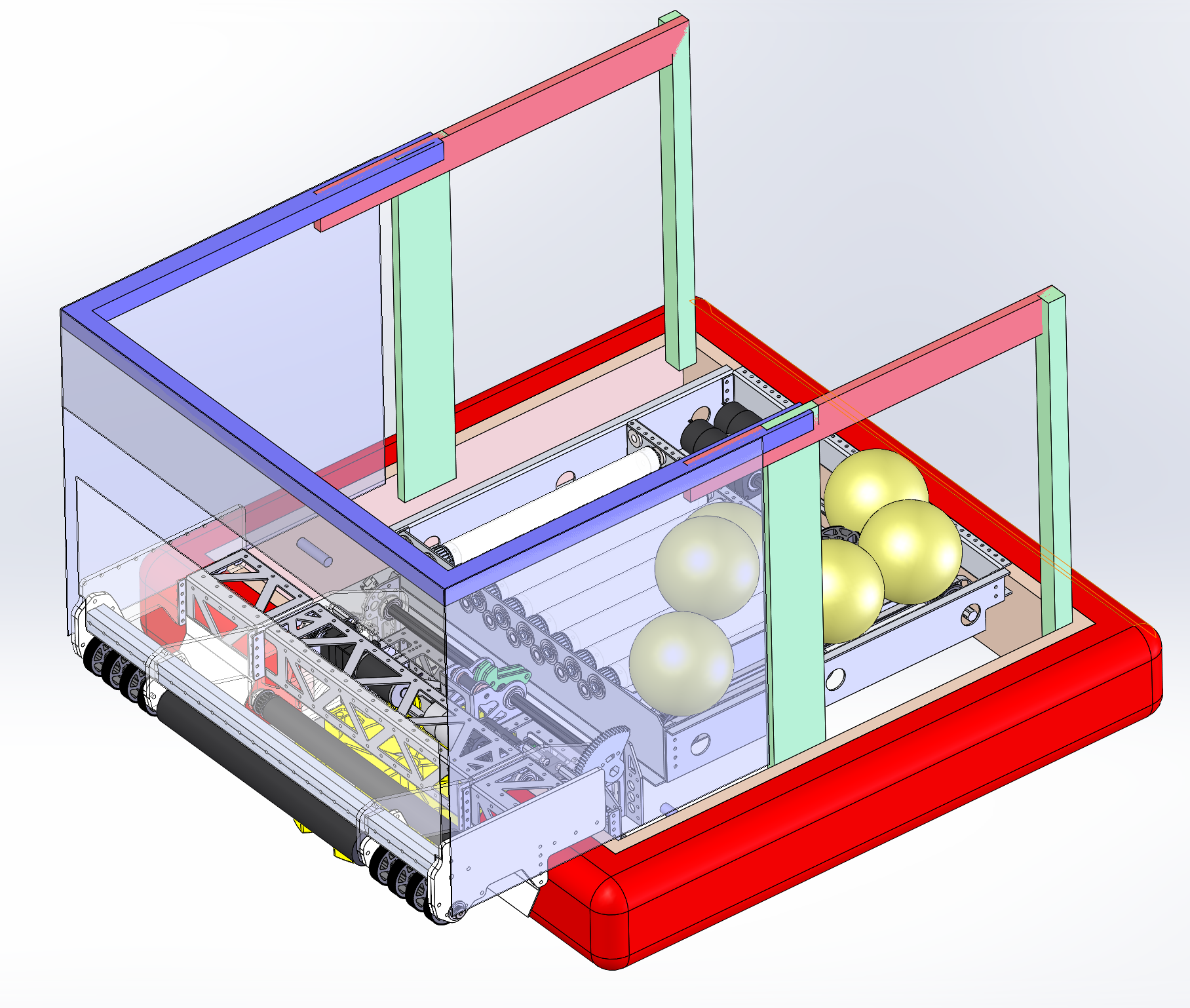 """The blue and red pieces were mated in the SOLIDWORKS assembly such that they """"slide"""" on each other. Simulating a linear motion component (to be designed later)."""
