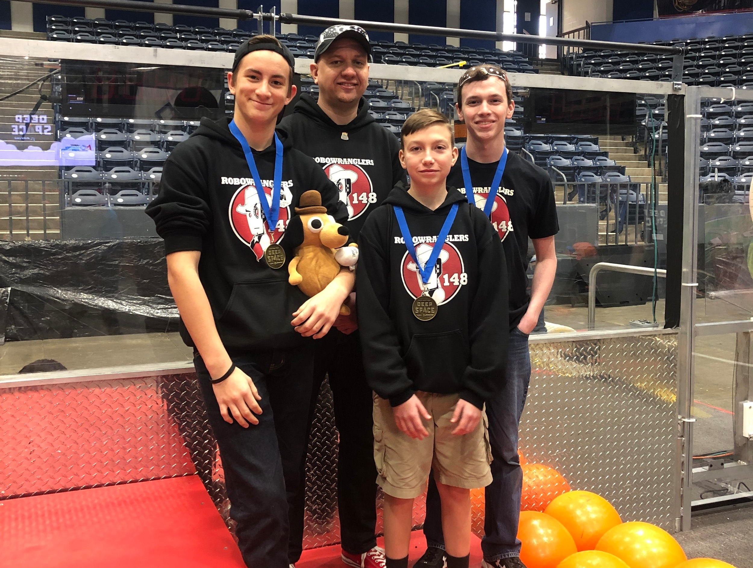2019 Drive team: Two Robowrangler rookies, one Einstein veteran driving his first official event (adequate job), and one coach who is so forgetful he might as well be a rookie…  This is Fine.