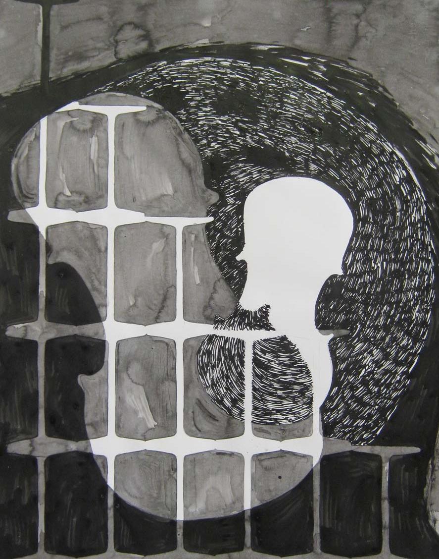 Elizabeth Michelman,  First Person Series, Vert. #1 Jan. 20, 2009 ,ink and graphite on paper, $450
