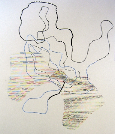 Ruth Daniels,  Chatter 29 , pigment markers and china markers, $80