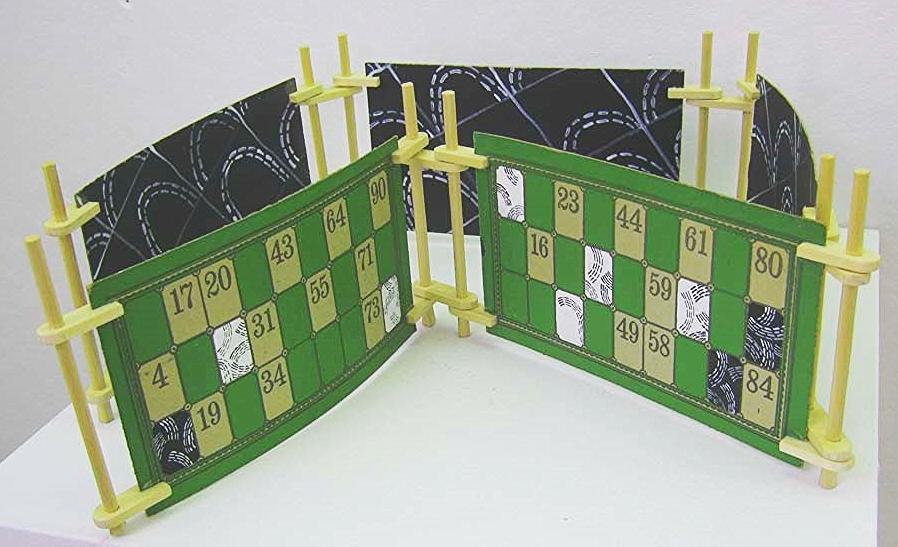 Jessica Straus,  Beyond Bingo,  wood, paint, lotto cards, $400