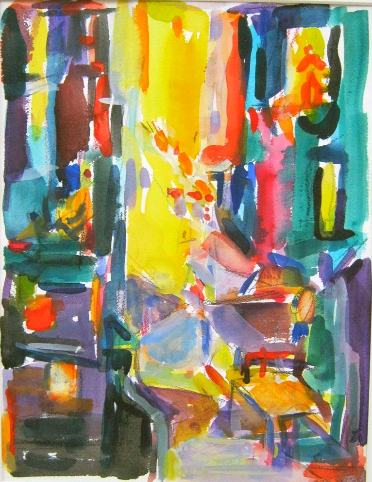 Suzanne Hodes,  Night Lights, New York , mixed media on paper, $700