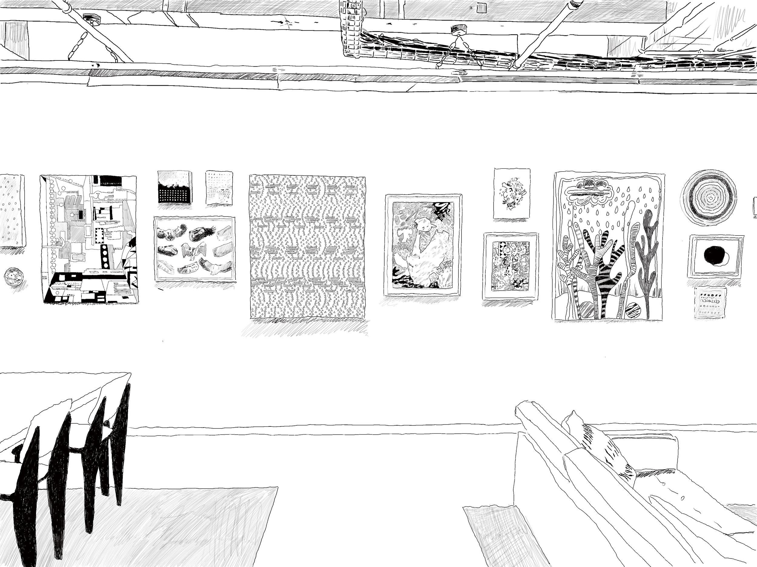 Kirstin Lamb, drawing of Dot Conference installed at the Yard, Williamsburg