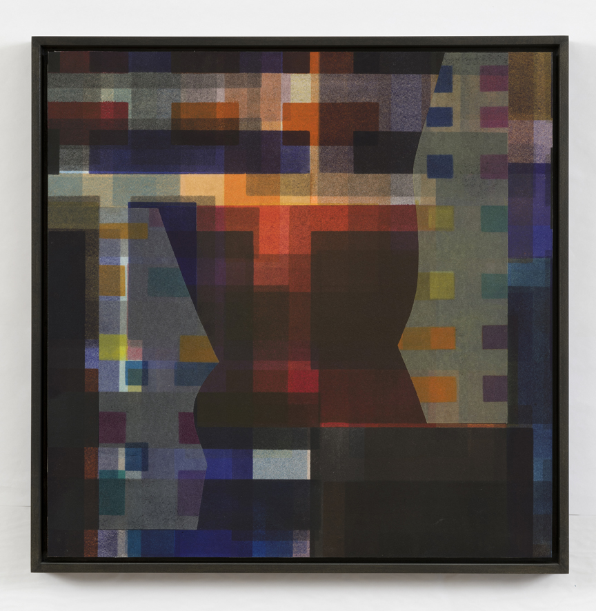 Shadow Series II   2014, mixed media/collage, mounted on panel, 16 x 16 in.