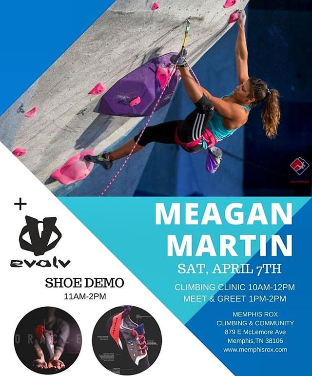 Hey Memphis!!! If you're in the area come to @memphisroxclimbing and hang out with me tomorrow ☺️!!! @evolv_worldwide