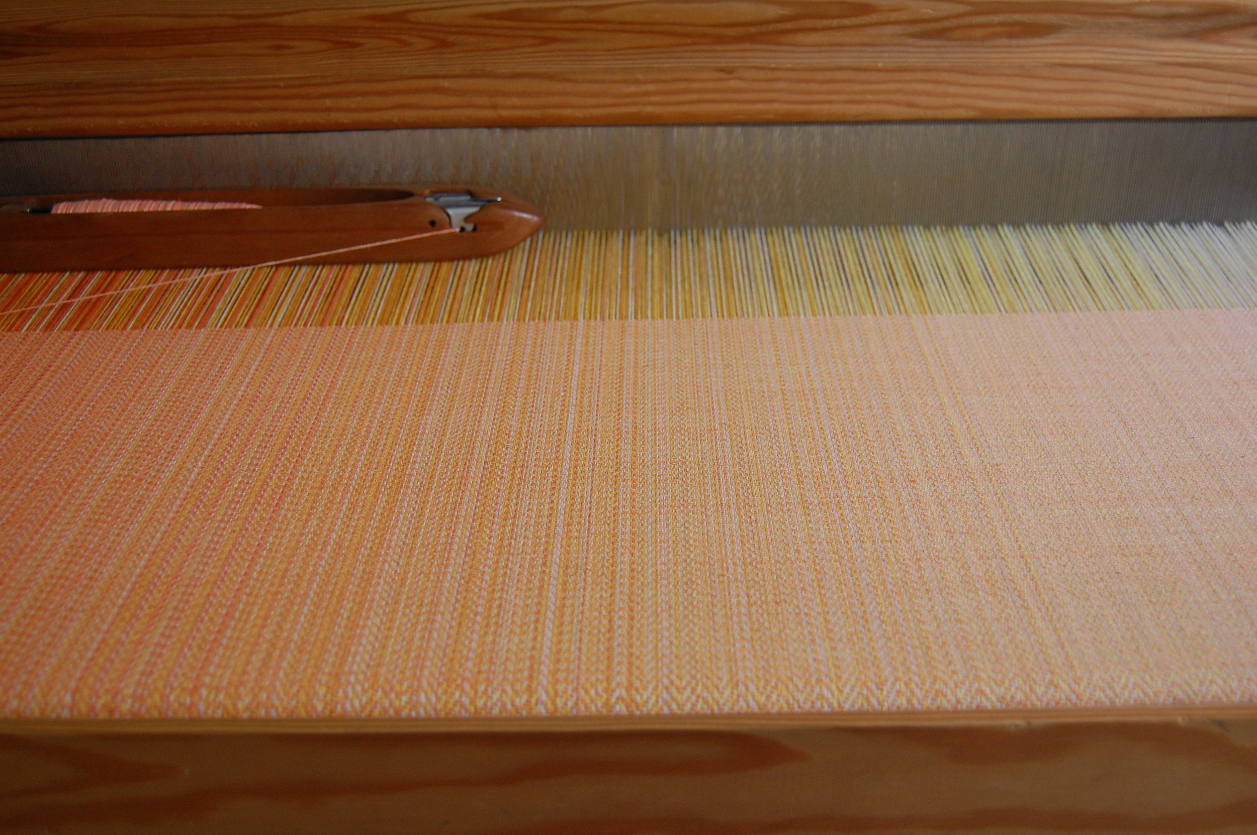 hand-dyed Melon hemp/cotton weft