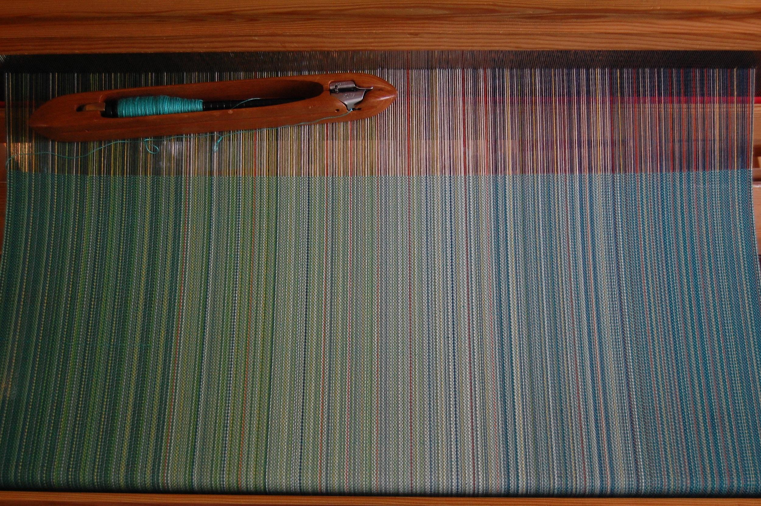 blue-green Egyptian cotton weft