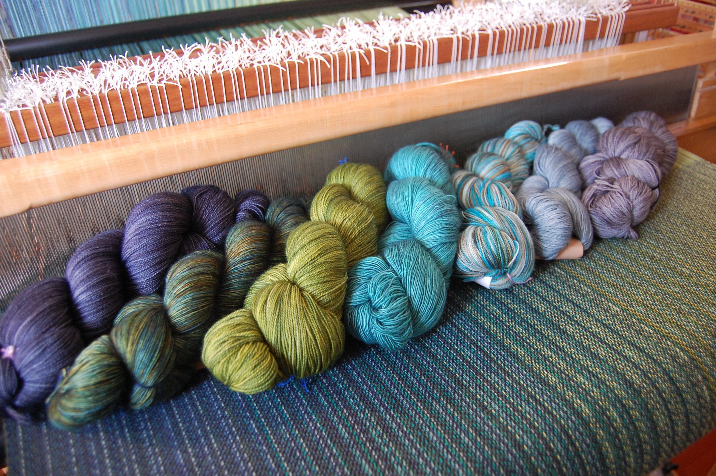 Madeline Tosh superwash merino wool wefts: Stovepipe, Shire, Jade, Mineral, Seawash, Well Water, Dr. Zhivago's Sky